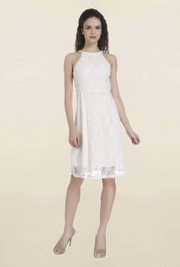 Only Peach Lace Knee Length Dress