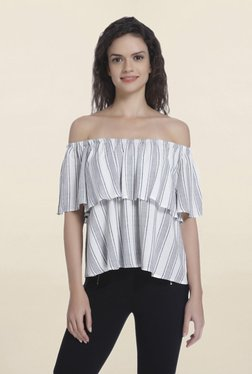 Only White Striped Off Shoulder Top