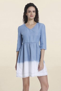 Only Light Blue Ombre Mini Dress