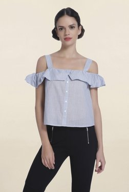 Only Blue Striped Cold Shoulder Shirt