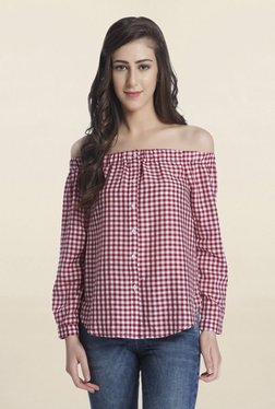 Only Red Checks Off Shoulder Shirt