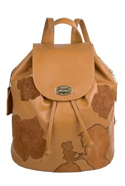 Hidesign Plumette Honey Brown Applique Leather Backpack