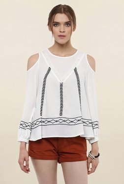 Loomtree White Embroidered Cold Shoulder Top