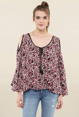 Loomtree Pink Floral Print Cold Shoulder Top