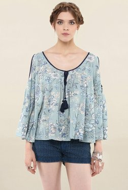 Loomtree Sky Blue Floral Print Cold Shoulder Top