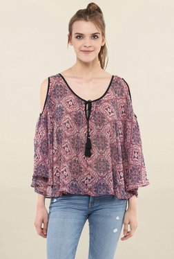 Loomtree Pink Printed Cold Shoulder Top