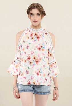 Loomtree White Floral Print Cold Shoulder Top