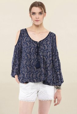 Loomtree Navy Printed Cold Shoulder Top