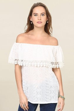 Loomtree White Embroidered Off Shoulder Top