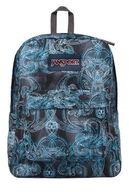 JanSport Superbreak Black & Blue Printed Polyester Backpack