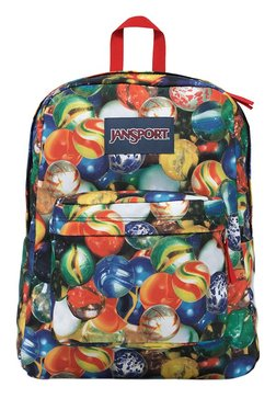 JanSport Superbreak Yellow & Blue Printed Polyester Backpack