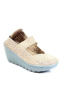 Pavers England Beige Mary Jane Wedges