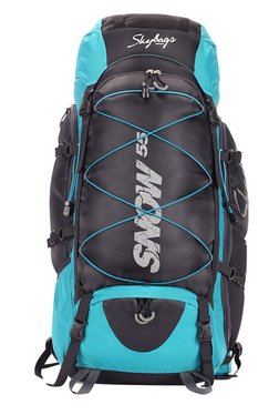 Skybags Snow 55 Teal Blue & Black Solid Polyester Backpack