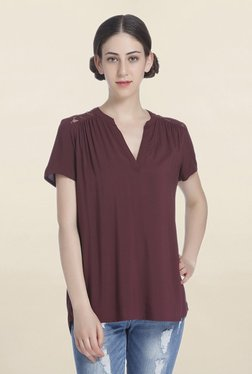 Only Maroon Loose Fit Top