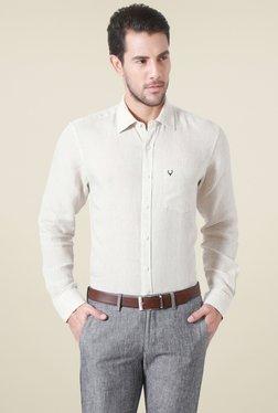 Allen Solly Beige Full Sleeves Slim Fit Linen Shirt