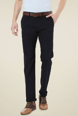 Allen Solly Black Comfort Fit Flat Front Trousers