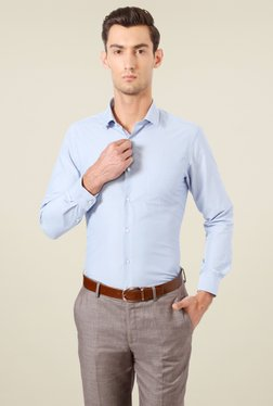 Peter England Baby Blue Striped Full Sleeves Shirt