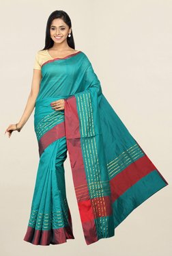 Pavecha's Teal Striped Cotton Silk Saree With Blouse
