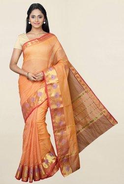 Pavecha's Orange Checks Cotton Silk Saree With Blouse
