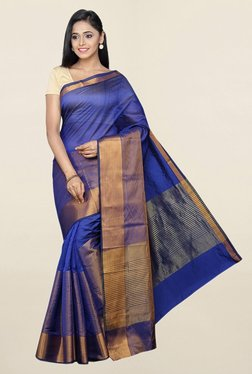 Pavecha's Navy Striped Cotton Silk Saree With Blouse