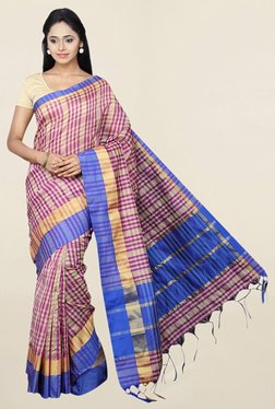Pavecha's Purple Checks Cotton Silk Saree With Blouse