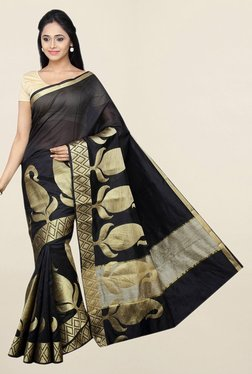 Pavecha's Black Printed Cotton Silk Saree With Blouse