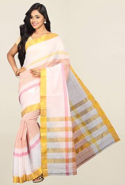 Pavecha's Pink Striped Cotton Silk Saree With Blouse