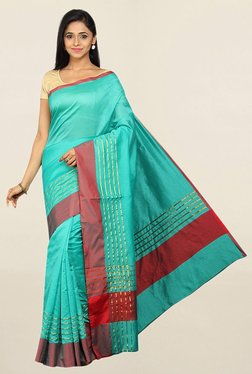 Pavecha's Turquoise Striped Cotton Silk Saree With Blouse