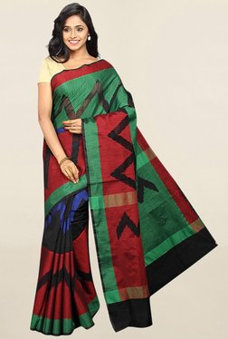 Pavecha's Multicolor Printed Cotton Silk Saree With Blouse