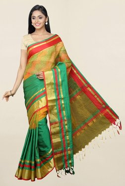 Pavecha's Green Printed Cotton Silk Saree With Blouse