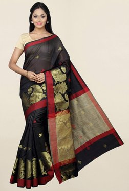 Pavecha's Black Printed Cotton Silk Saree With Blouse - Mp000000001783596