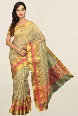 Pavecha's Gold Checks Cotton Silk Saree With Blouse