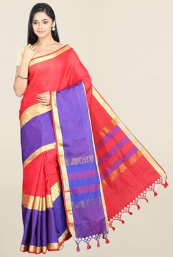 Pavecha's Red & Purple Textured Cotton Silk Saree With Blouse