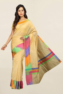Pavecha's Beige Cotton Silk Saree With Blouse