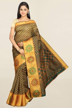 Pavecha's Green & Gold Checks Cotton Silk Saree With Blouse