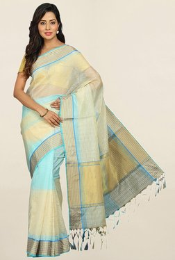 Pavecha's Beige Checks Cotton Silk Saree With Blouse