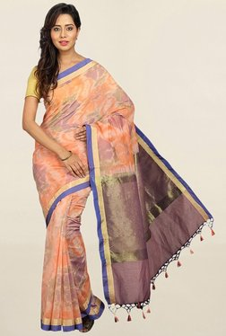 Pavecha's Peach Printed Cotton Silk Saree With Blouse