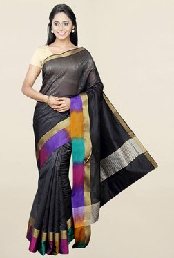 Pavecha's Black Textured Cotton Silk Saree With Blouse