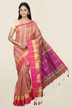 Pavecha's Red Checks Cotton Silk Saree With Blouse