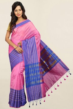 Pavecha's Pink & Blue Striped Cotton Silk Saree With Blouse