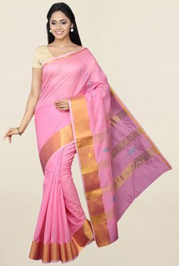 Pavecha's Pink Cotton Silk Saree With Blouse - Mp000000001783692