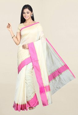 Pavecha's Beige Cotton Silk Saree With Blouse - Mp000000001783700