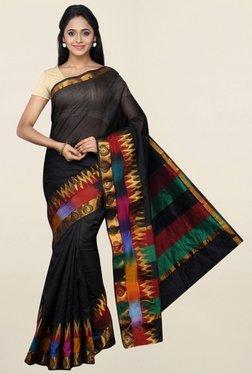 Pavecha's Black Printed Cotton Silk Saree With Blouse