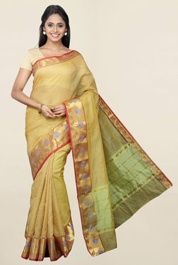Pavecha's Green Checks Cotton Silk Saree With Blouse