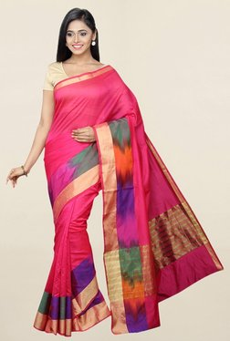 Pavecha's Pink Cotton Silk Saree With Blouse