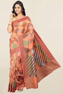 Pavecha's Orange Printed Cotton Silk Saree With Blouse - Mp000000001783770