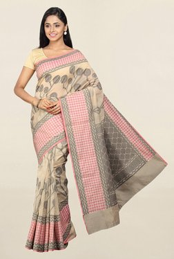 Pavecha's Beige Printed Cotton Silk Saree With Blouse - Mp000000001783777