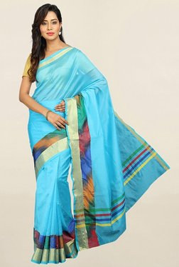 Pavecha's Blue Cotton Silk Saree With Blouse - Mp000000001783785