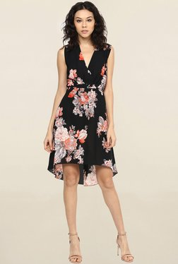 109 F Black Floral Print Knee Length Dress