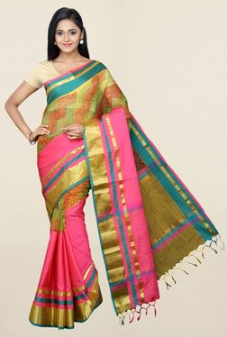 Pavecha's Pink Cotton Silk Bollywood Saree With Blouse